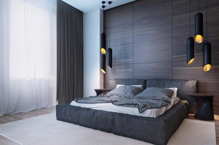 holzverkleidung dunkle holzfarbe stilvolles wanddesign schlafzimmer