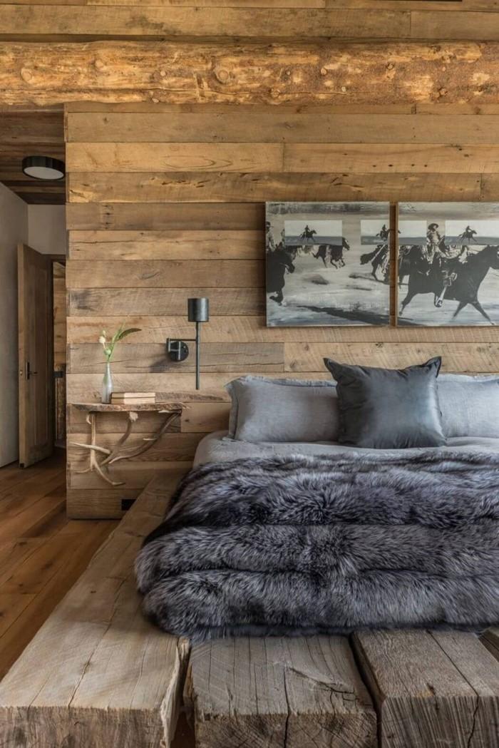 holzverkleidung gemütliches schlafzimmer rustikale holzelemente