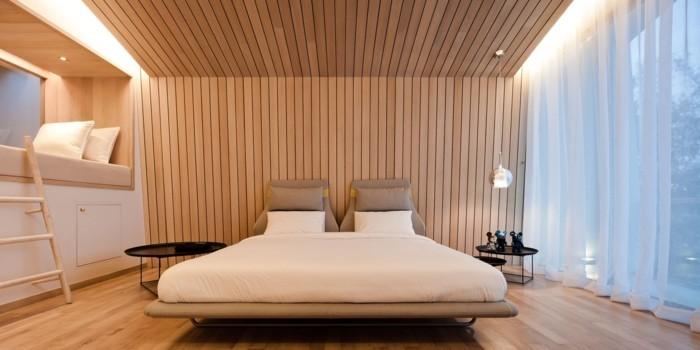 holzverkleidung holzpaneele schlafzimmer luftige gardinen