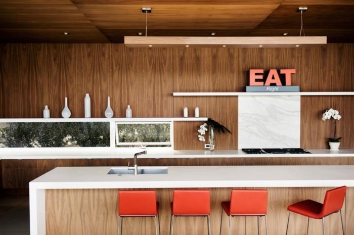 holzverkleidung küche moderne einrichtung holzoptik weiße arbeitsplatte