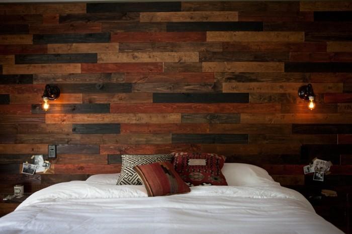 holzverkleidung schlafzimmer wanddesign farbig gemütlich