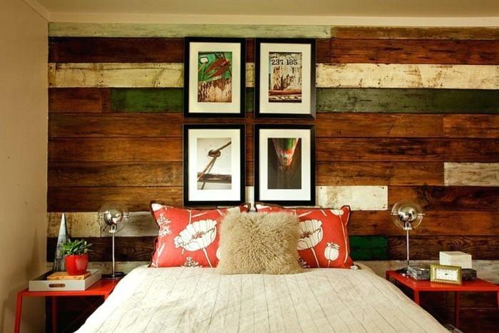 holzverkleidung schlafzimmer wanddesign farbige akzente