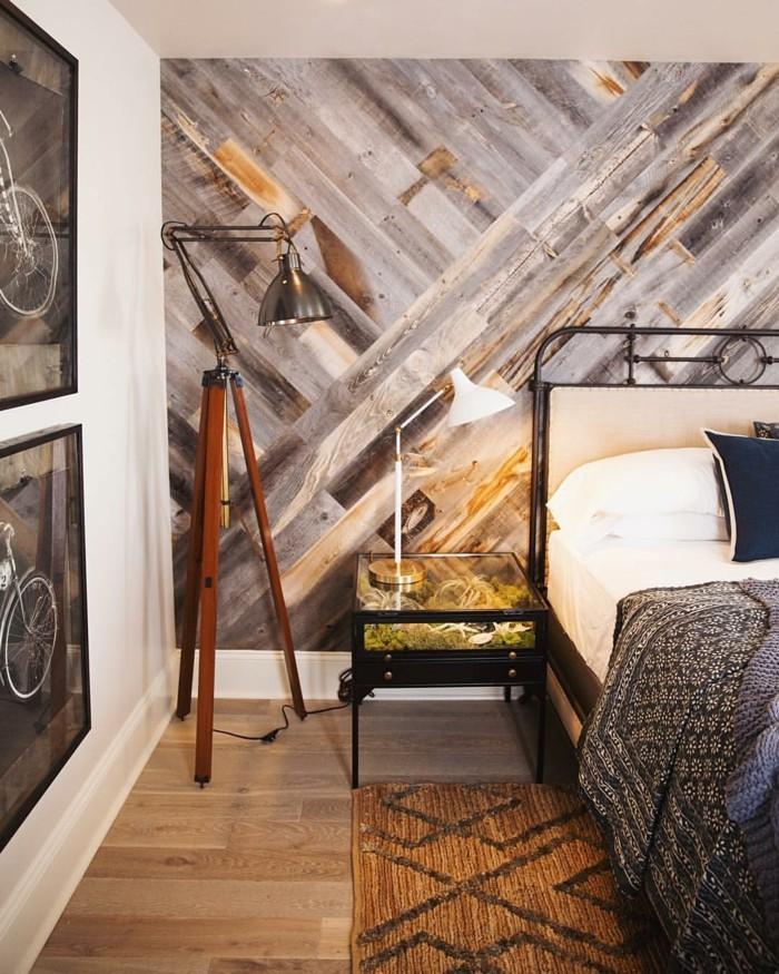 holzverkleidung schlafzimmer wanddesign holzboden ausgefallener nachttisch