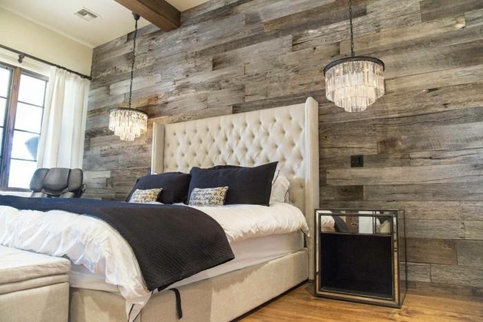 holzverkleidung schlafzimmer wanddesign rustikal schöne hängelampen