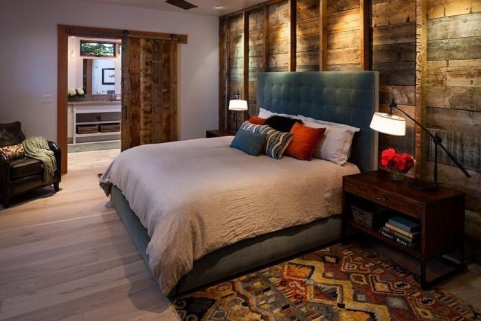 holzverkleidung wanddesign schlafzimmer farbiger teppich