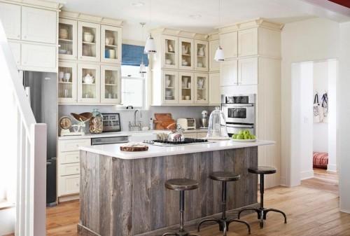küche mit kochinsel holzverkleidung schöne barhocker
