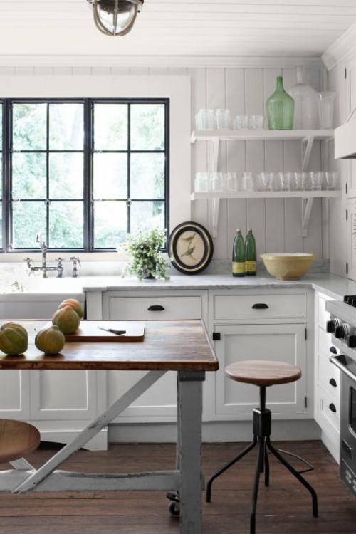 küche mit kochinsel industrieller stil weiße wände