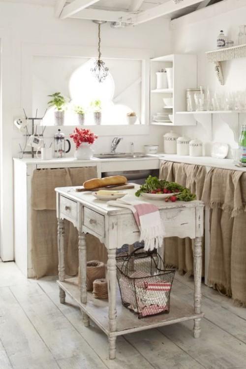 Küche Mit Kochinsel Landhausküche Gemütlich Helle Farben