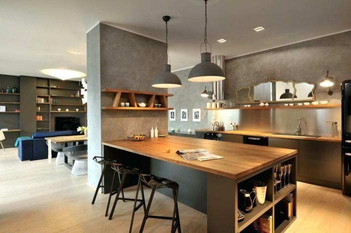 küche mit kochinsel moderne kücheninsel hängelampen