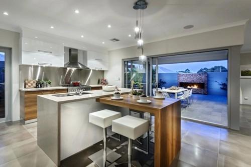 küche mit kochinsel moderne kücheninsel trendige barhocker