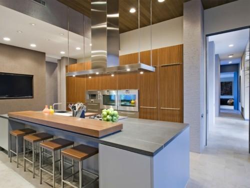 küche mit kochinsel modernes design schöne farbe barhocker