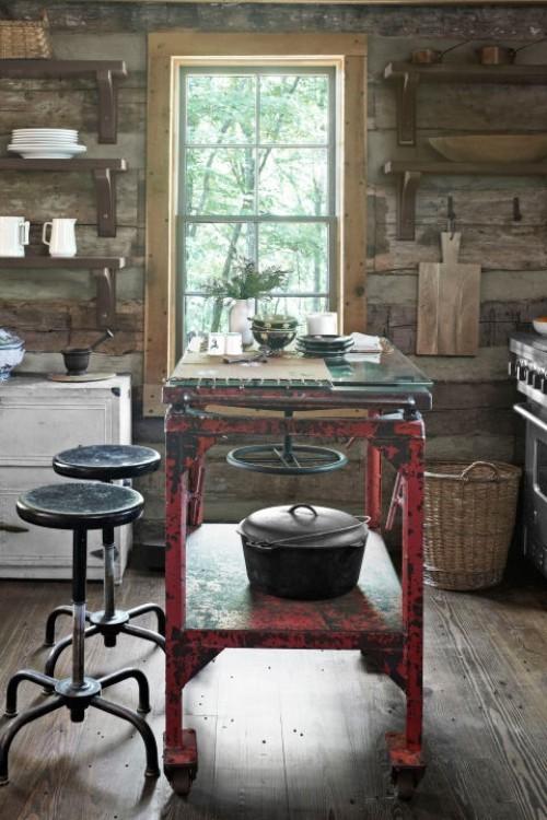 küche mit kochinsel patina effekt offene wandregale