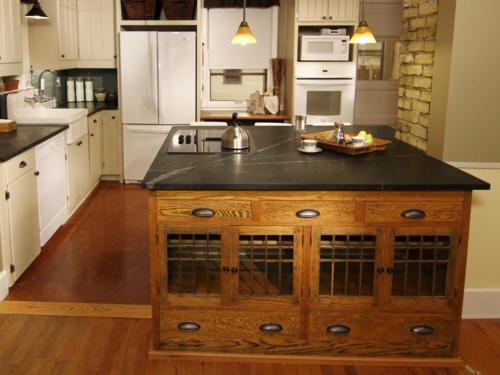 küche mit kochinsel schönes design schwarze arbeitsfläche