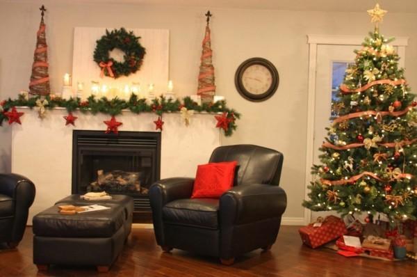 kranz weihnachtskamin weihnachten kamin deko tannenbäume
