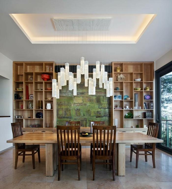 kronleuchter modern esszimmer beleuchten abgehängte decke