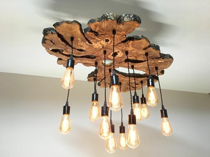 kronleuchter modern rustikaler stil holz glühbirnen