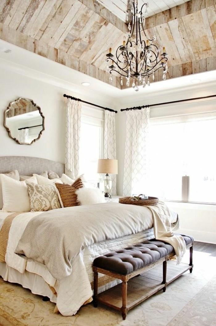 kronleuchter modern schöne zimmerdecke schlafzimmerbank