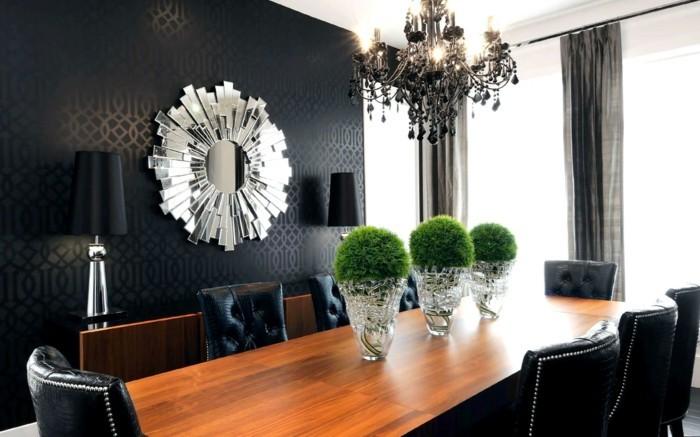 kronleuchter modern schwarzer leuchter elegante tischdeko