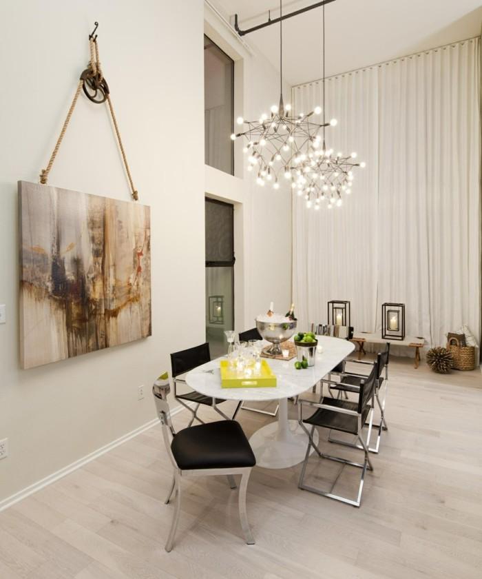 kronleuchter modern stilvoller essbereich helle farben