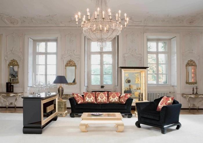 kronleuchter modern wohnzimmerbeleuchtung schwarze möbel