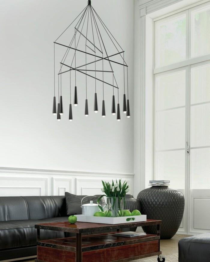 kronleuchter schwarz modernes design wohnzimmer beleuchten