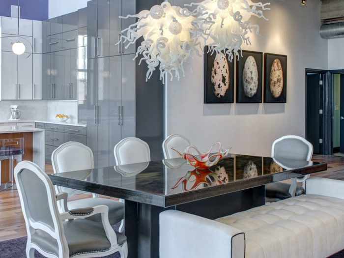 kronleuchter weiß esszimmer modern beleuchten