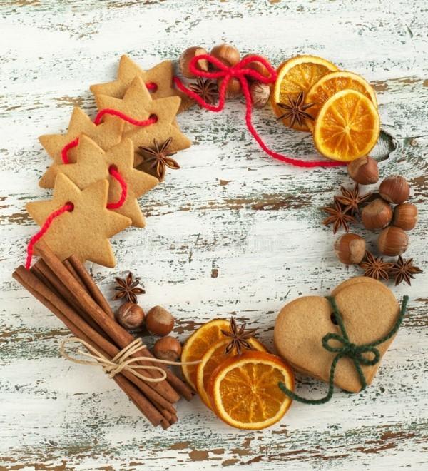last minute adventskranz selber machen gewürze zimt orange weihnachtskekse