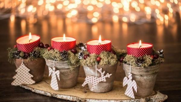 last minute adventskranz selber machen vier kerzen christbaumschmuck