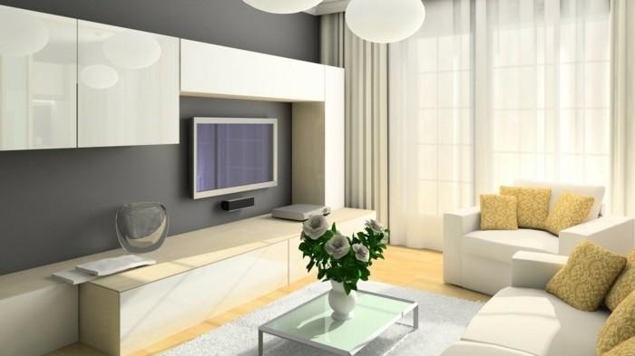 minimalistisch wohnen cremefarbene möbel gelbe akzente