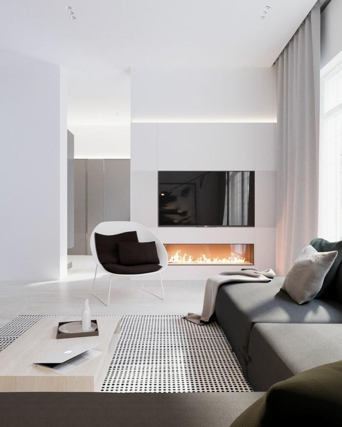minimalistisch wohnen elegante wohnzimmereinrichtung feuerstelle schöner teppich