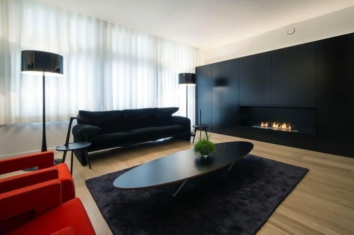 minimalistisch wohnen farbkontrast schwarz rot