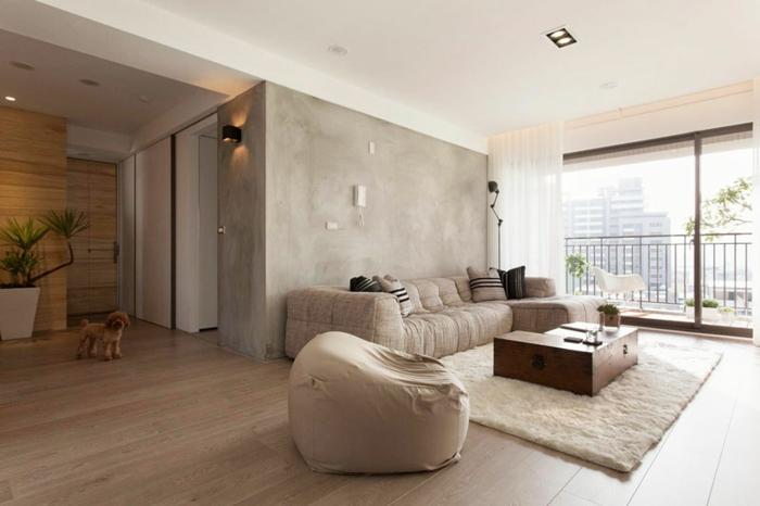 minimalistisch wohnen gemütliche einrichtungsideen große fenster weicher teppich