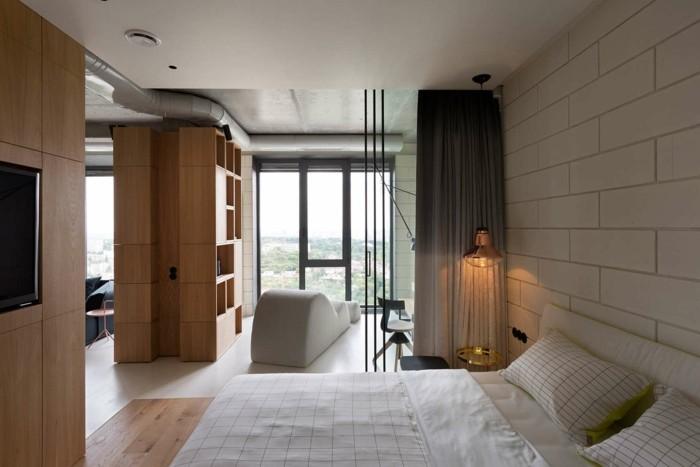 minimalistisch wohnen gemütliches schlafzimmer karierte bettwäsche