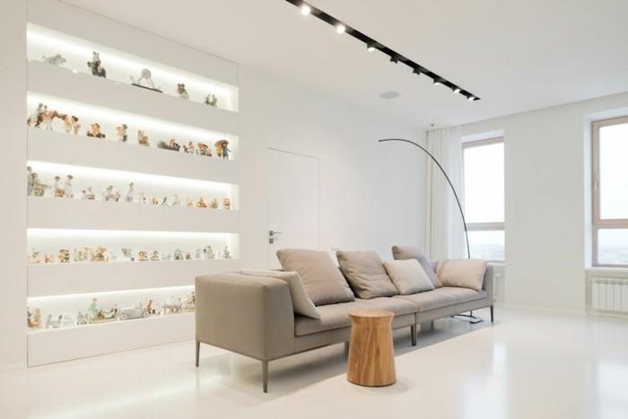 minimalistisch wohnen gemütliches wohnzimmer dekoartikel ausstellen