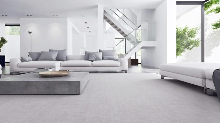 minimalistisch wohnen helle farben wohnzimmereirnichtung stilvoller teppich