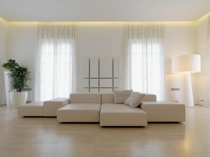 minimalistisch wohnen helle wohnzimmermöbel moderne beleuchtung