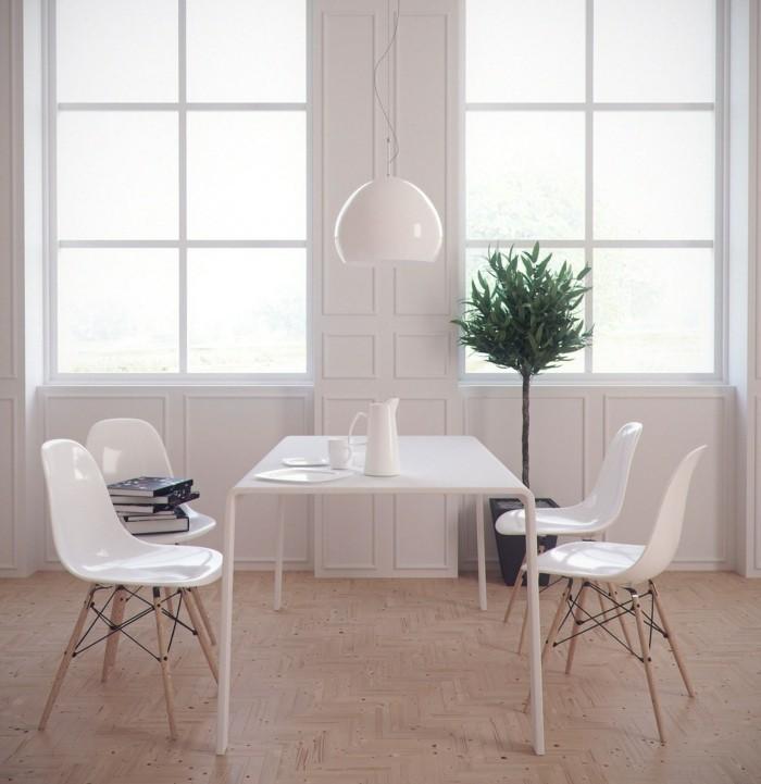 minimalistisch wohnen kleiner essbereich weiße möbel heller bodenbelag frisch und einladend