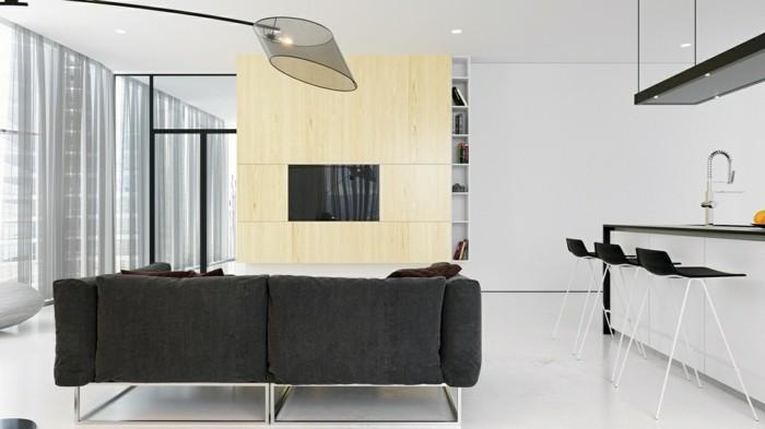 minimalistisch wohnen kleines wohnzimmer graues sofa offener wohnplan