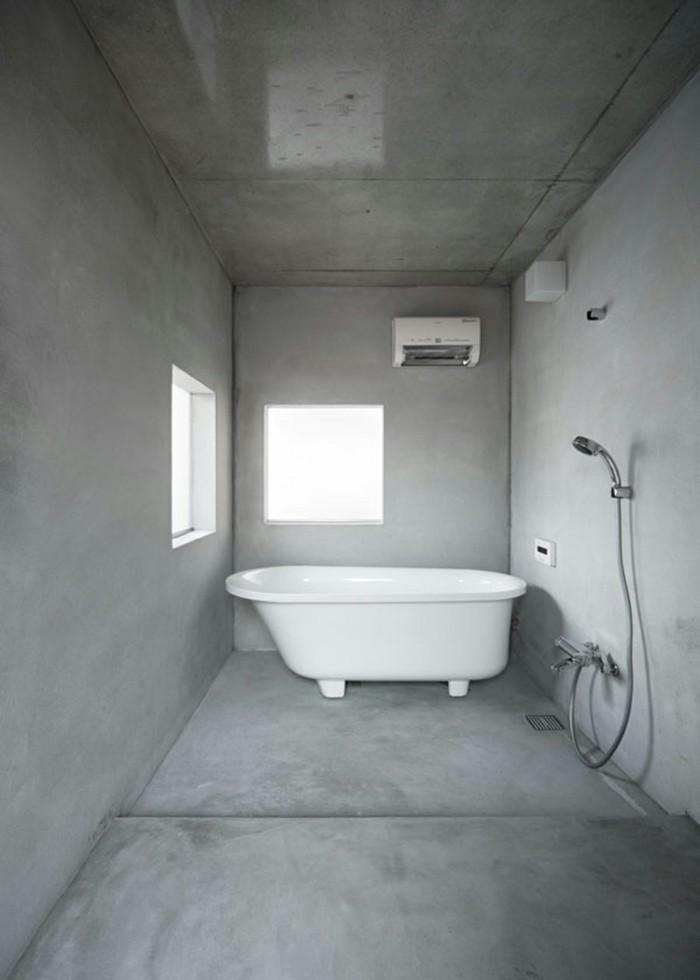minimalistisch wohnen minimalistisches badezimmer graue wandfarbe