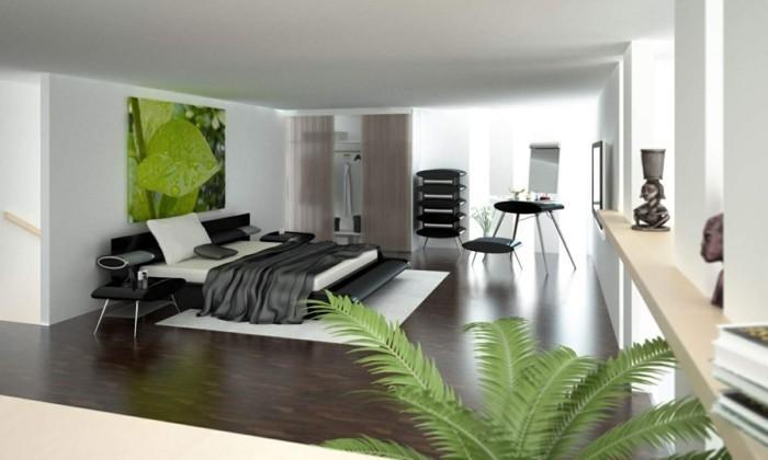 minimalistisch wohnen schwarze bettwäsche pflanzen