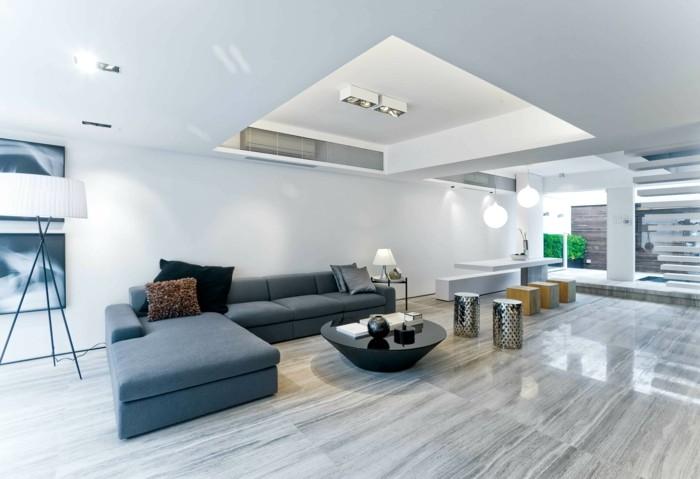 minimalistisch wohnen minimalistisches wohnzimmer runder couchtisch moderne hocker