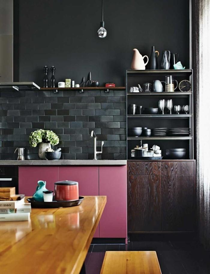 minimalistisch wohnen moderne küche farbige akzente