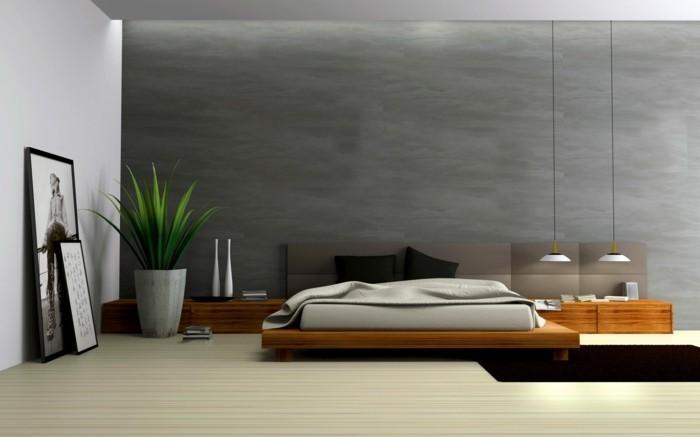 minimalistisch wohnen moernes schlafzimmer hängelampen dunkler teppich