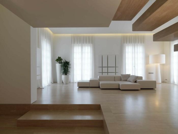 minimalistisch wohnen nartürliche farben schöne zimmerdecke