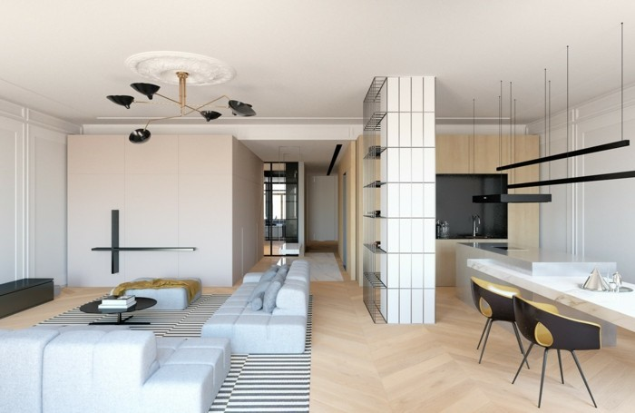 minimalistisch wohnen offener wohnplan streifenteppich moderner essbereich