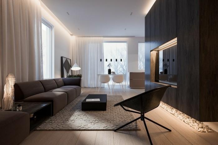 minimalistisch wohnen schönes wohnzimmer gemütliche farben dunkle möbelstücke