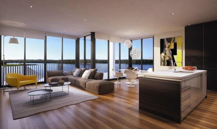 minimalistisch wohnen schönes wohnzimmer offener wohnplan panoramablick