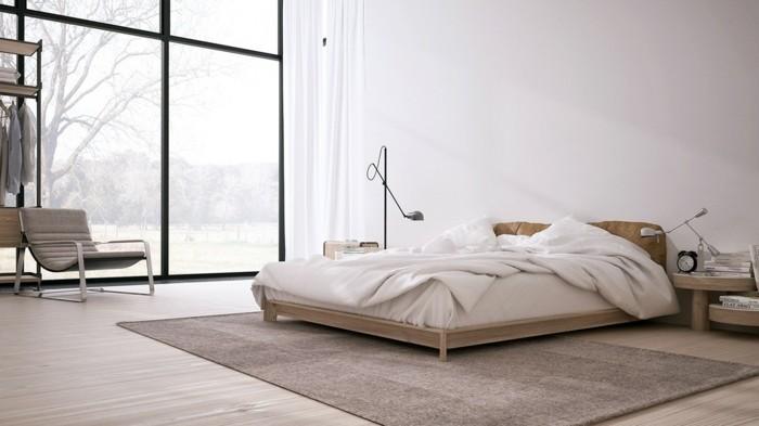 minimalistisch wohnen schlichte schlafzimmereinrichtung erdige farben