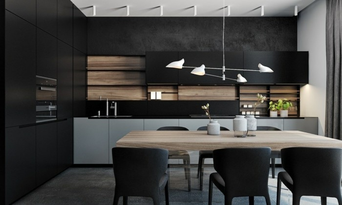 minimalistisch wohnen schwarze küchenschränke ausgefallener bodenbelag