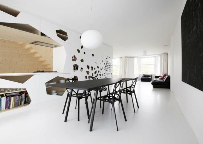 minimalistisch wohnen schwarze möbel weiße wände